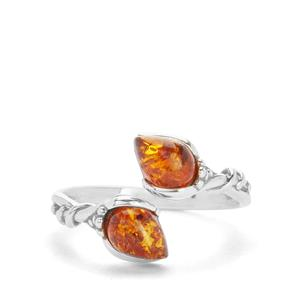Baltic Cognac Amber Ring in Sterling Silver (7x5mm)