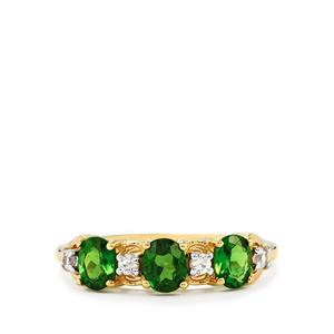 Chrome Diopside Ring with White Zircon in 9K Gold 1.31cts