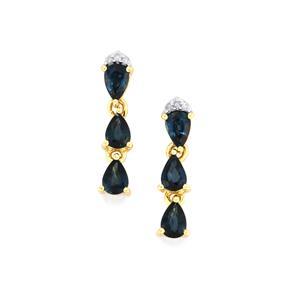 Australian Blue Sapphire Earrings with Diamond in 9K Gold 1.79cts