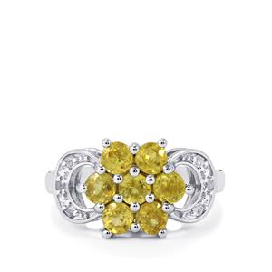 Ambilobe Sphene & White Topaz Sterling Silver Ring ATGW 1.87cts