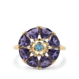 Bengal Iolite, Sky Blue Topaz & Blue Diamond 9K Gold Ring ATGW 3.21cts