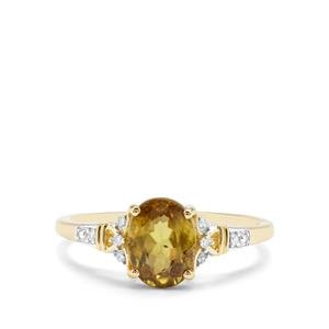 Ambilobe Sphene & Diamond 9K Gold Ring ATGW 1.41cts