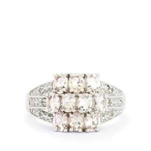 Zambezia Morganite & White Topaz Sterling Silver Ring ATGW 1.57cts