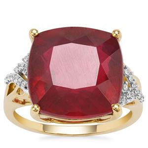 Malagasy Ruby Ring with White Zircon in 9K Gold 16.82cts