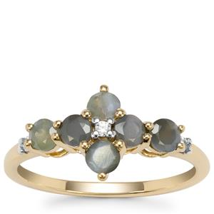 Orissa Alexandrite Ring with White Zircon in 9K Gold 1.03cts