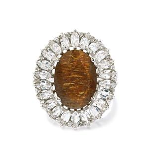 Shinyanga Sunstone Ring with White Topaz in Sterling Silver 7.21cts