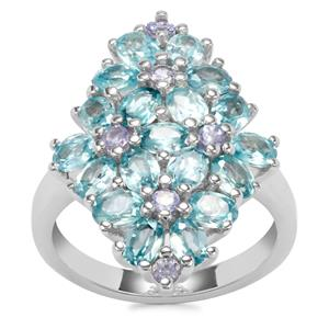Ratanakiri Blue Zircon Ring with Tanzanite in Sterling Silver 5.20cts