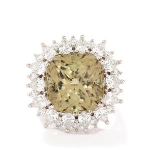 Csarite® & Diamond Platinum 950 Ring MTGW 19.89cts
