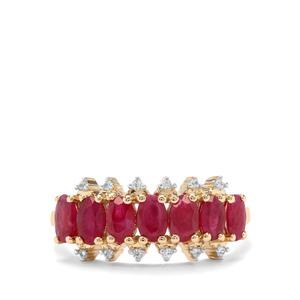 Burmese Ruby & White Zircon 9K Gold Ring ATGW 2.17cts