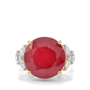 Malagasy Ruby Ring with White Zircon in 9K Gold 17.14cts (F)
