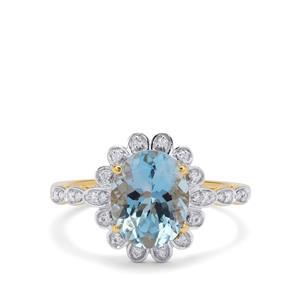 Nigerian Aquamarine Ring with Diamond in 18K Gold 2.40cts