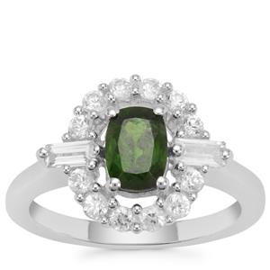 Chrome Diopside Ring with White Zircon in Sterling Silver 1.90cts