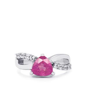 Ilakaka Hot Pink Sapphire & White Topaz Sterling Silver Ring ATGW 2.76cts (F)