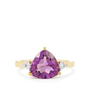 Zambian Amethyst Ring with White Zircon in Gold Plated Sterling Silver 3.10cts