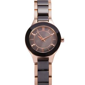 Diamond Mother of Pearl Ceramic Rose Gold Plated Stainless Steel watch 0.03ct