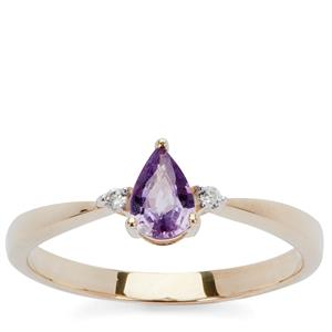 Natural Purple Sapphire Ring with White Zircon in 9K Gold 0.48ct