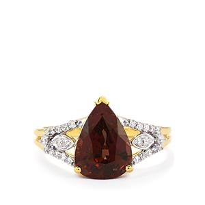 Color Change Garnet Ring with Diamond in 18k Gold 4.22cts