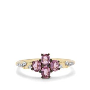Sakaraha Pink Sapphire & White Zircon 9K Gold Ring ATGW 0.88ct
