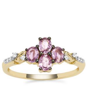 Sakaraha Pink Sapphire Ring with White Zircon in 9K Gold 0.88ct