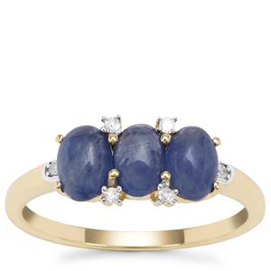 Burmese Blue Sapphire Ring with Diamond in 9K Gold 2.05cts