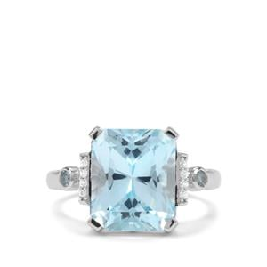 Barion Cut Sky Blue & Swiss Blue Topaz & White Zircon Sterling Silver Ring ATGW 7.75cts