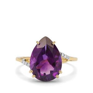 Moroccan Amethyst & Diamond 9K Gold Ring ATGW 4.60cts