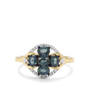 Natural Nigerian Blue Sapphire & White Zircon 9K Gold Ring ATGW 1.46cts
