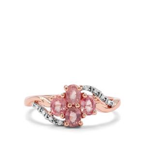 Padparadscha Sapphire & Diamond 9K Rose Gold Ring ATGW 1.11cts