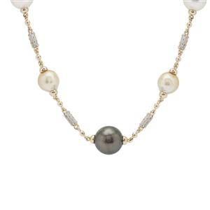 Tahitian, Golden, White South Sea Cultured Pearl & White Zircon Necklace 9K Gold