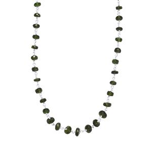 Chrome Diopside Graduated Bead Necklace in Sterling Silver 29.50cts