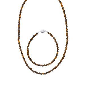 Tiger's Eye Set of Necklace & Bracelet in Sterling Silver 65cts