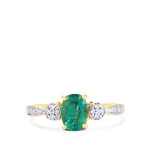 Zambian Emerald & Diamond 18K Gold Tomas Rae Ring MTGW 1.05cts