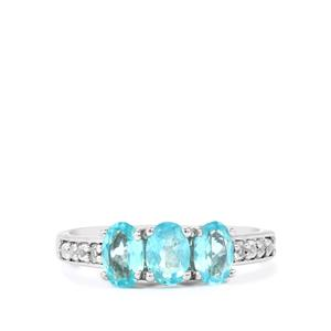 Madagascan Blue Apatite & White Topaz Sterling Silver Ring ATGW 1.40cts