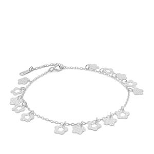 "7"" Sterling Silver Altro Flower Charm Bracelet 2.98g"