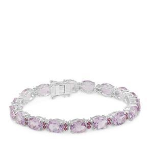 Rose De France Amethyst Bracelet with Rajasthan Garnet in Sterling Silver 33.66cts