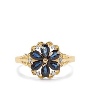 Sri Lankan Sapphire & Diamond 9K Gold Ring ATGW 1.42cts