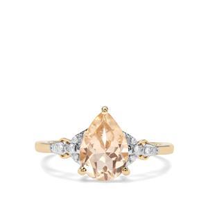 Cuprian Sunstone & Diamond 9K Gold Ring ATGW 1.81cts