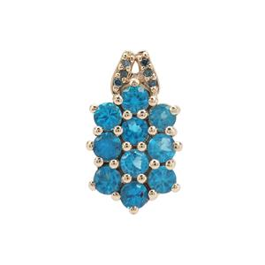 Neon Apatite Pendant with Blue Diamond in 9K Gold 1.24cts