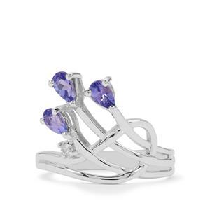 A Tanzanite & White Zircon Sterling Silver Ring ATGW 0.65ct
