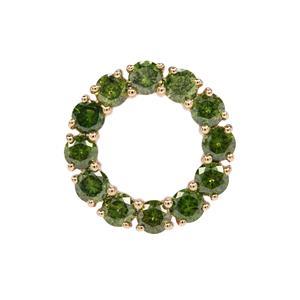 Green Diamond Pendant in 9K Gold 2.20ct