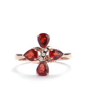 Winza Ruby Ring with White Zircon in 10k Rose Gold 1.64cts