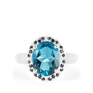 London Blue Topaz Ring with Black Spinel in Sterling Silver 4.75cts