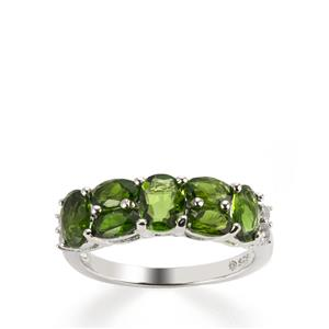 Chrome Diopside Ring with White Topaz in Sterling Silver 2.77cts