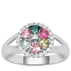 Rainbow Tourmaline Ring with White Zircon in Sterling Silver 0.93cts