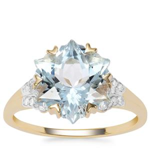 Wobito Snowflake Cut Aquamarine Ring with Diamond in 9K Gold 4.25cts