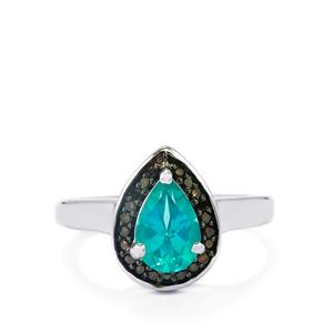 Batalha Topaz Ring with Champagne Diamond in Sterling Silver 1.70cts