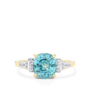 Ratanakiri Blue Zircon Ring with Diamond in 14k Gold 4.14cts