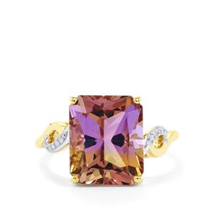Anahi Ametrine Ring with Diamond in 10k Gold 5.35cts