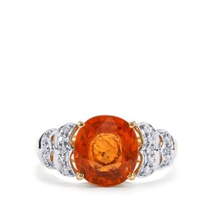 Mandarin Garnet Ring with Diamond in 18K Gold 3.88cts