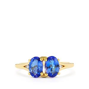AA Tanzanite Ring with Diamond in 10K Gold 1.58cts